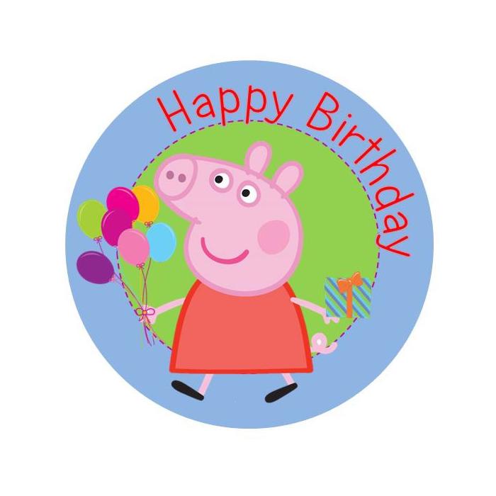 Свинка пеппа с днем рождения картинки круглые