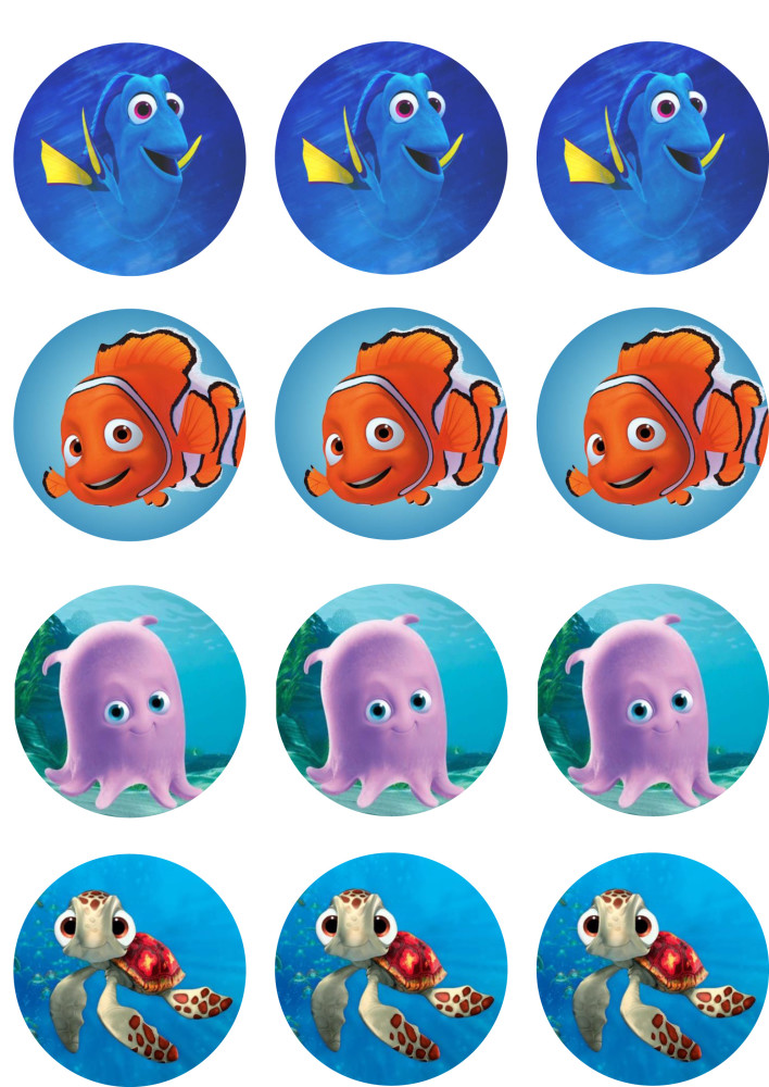 Finding dory cupcake toppers shore cake supply for Nemo cake template