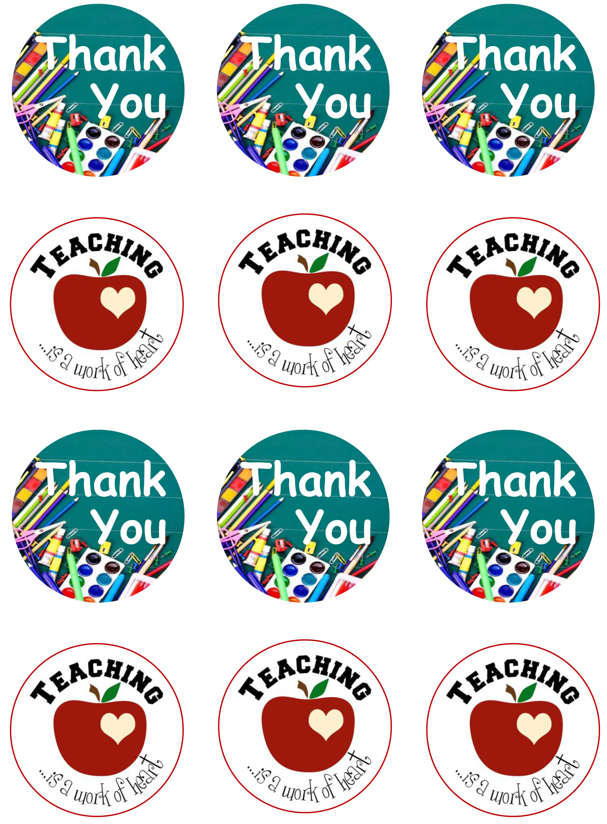 Baking Accs. & Cake Decorating Thank you teacher cupcake toppers decorations x 6 Cookware, Dining & Bar
