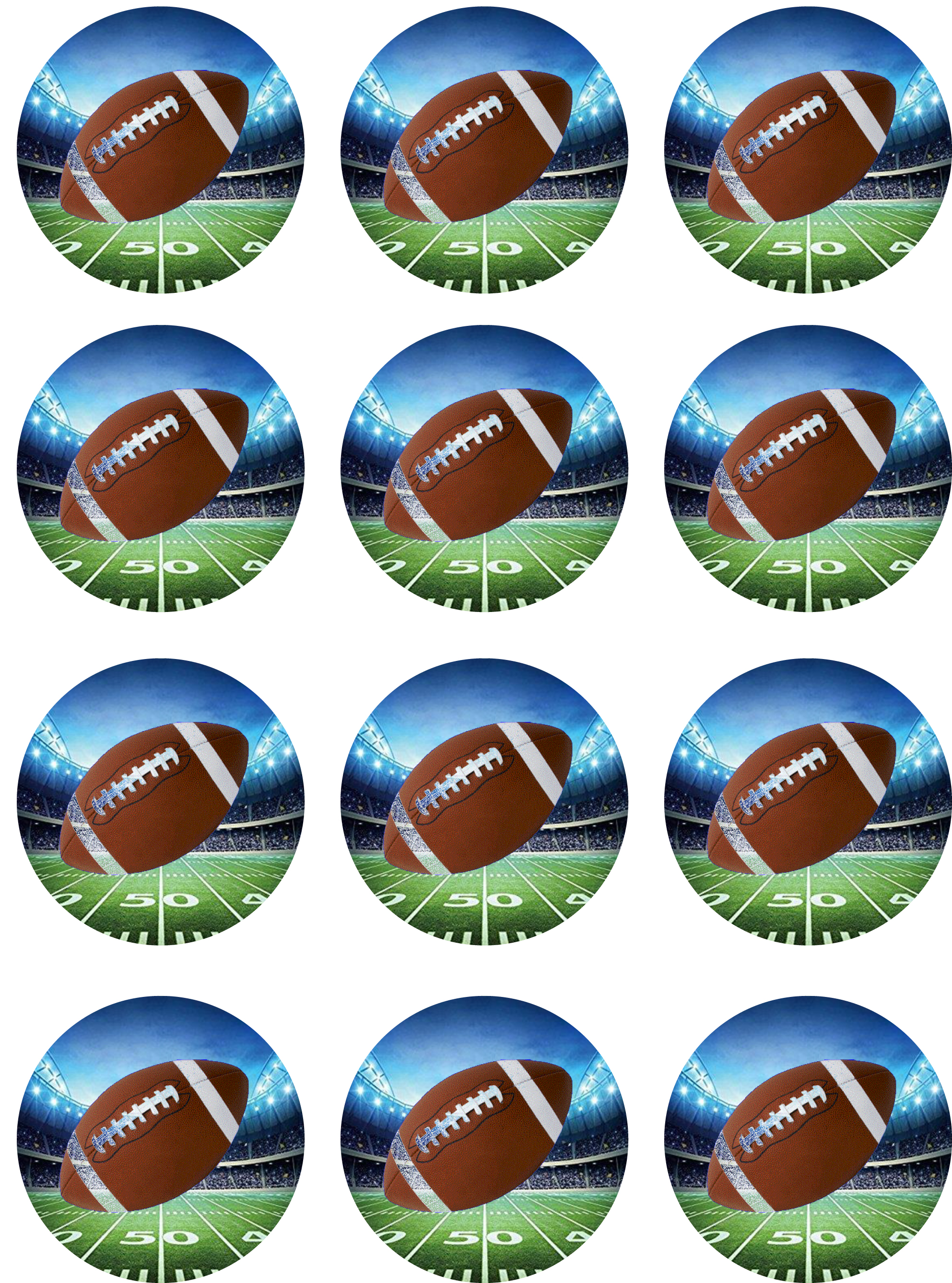 Football Cupcake Toppers   Shore Cake Supply